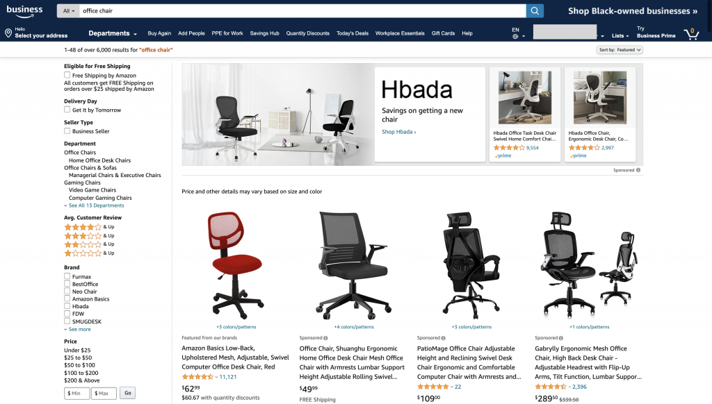 Amazon Business Search For Office Chairs